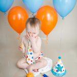 Jamie Romaezi Photography orange and blue cake smash