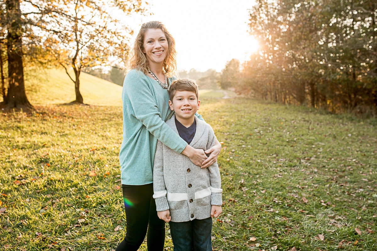 Outdoor photos of mother and son in the fall